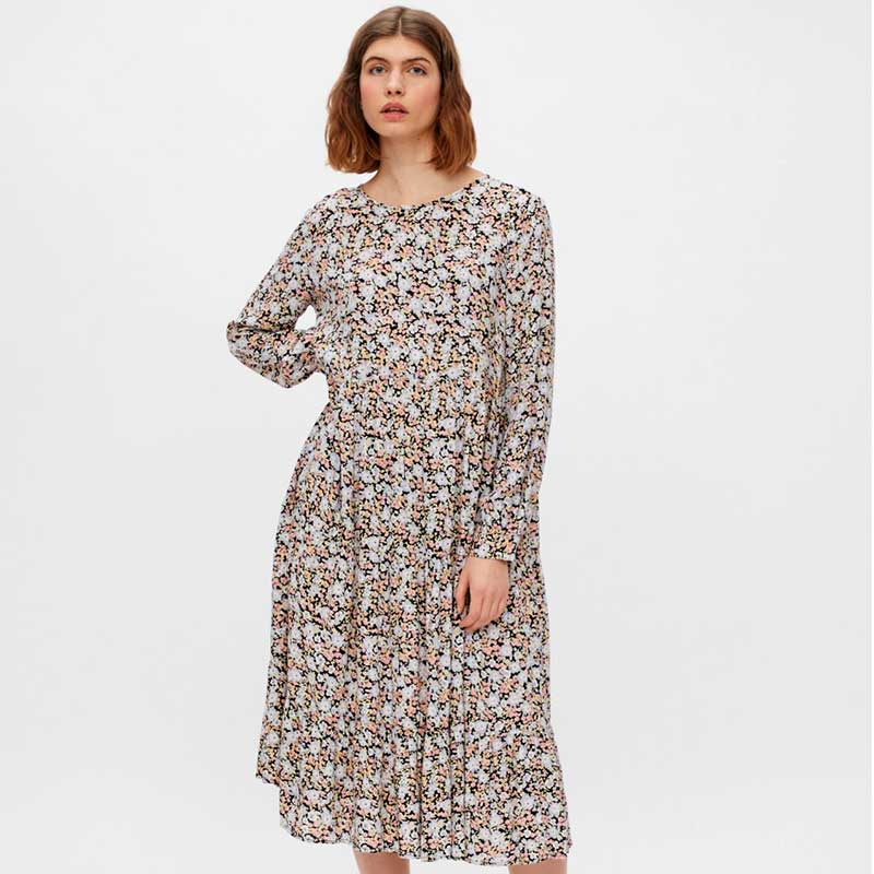 PIECES PCINIS LS MIDI DRESS D2D SORT