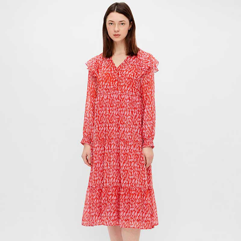 PIECES PCRIO LS MIDI DRESS D2D RØD