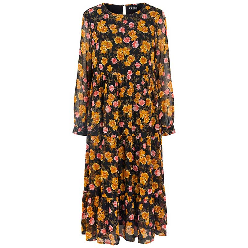 PIECES PCTHILDE LS MIDI DRESS SORT