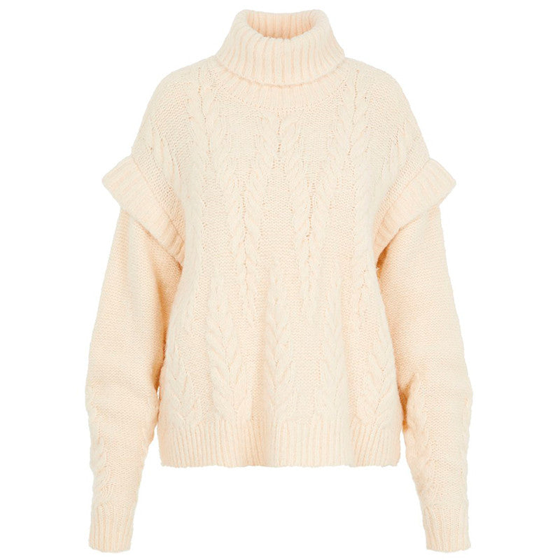 PIECES PCSAPPA LS ROLL NECK KNIT BEIGE