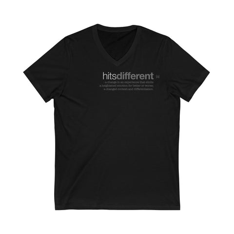hitsdifferent (a) Unisex Jersey Short Sleeve V-Neck Tee