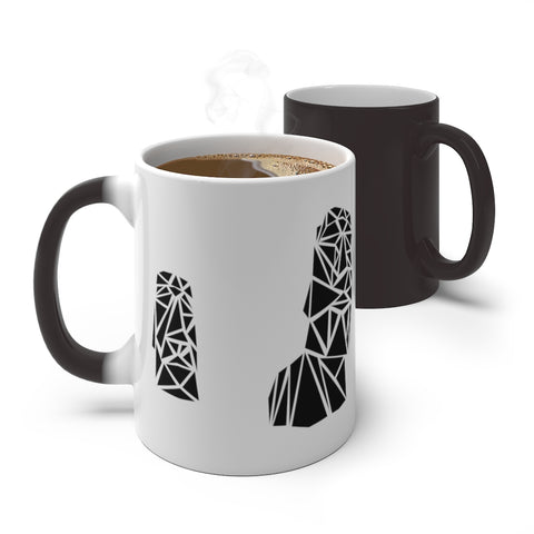 Polygon Moai (black) Color Changing Mug
