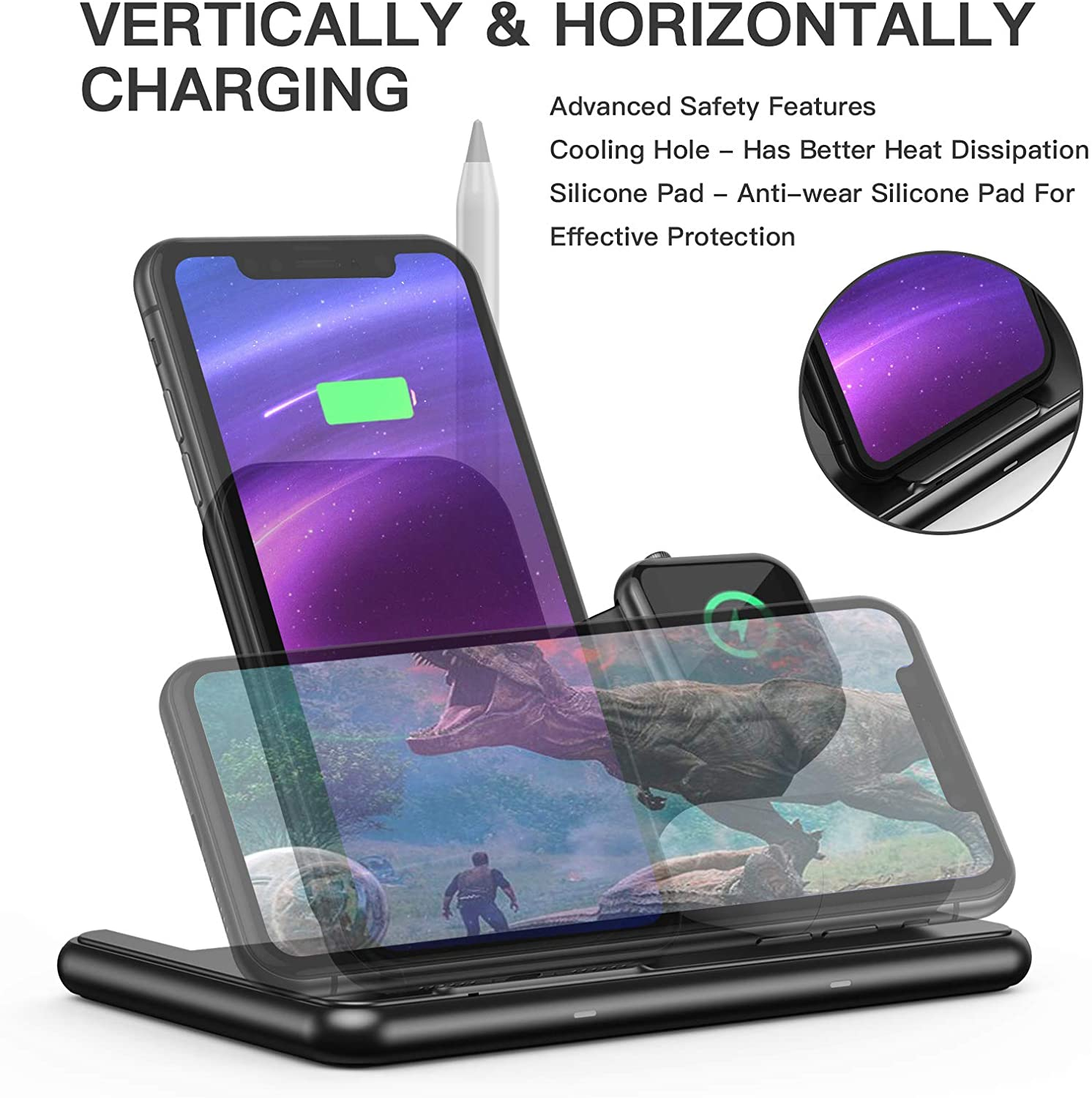 Horizontal charging 4 in 1 apple iPhone charger.