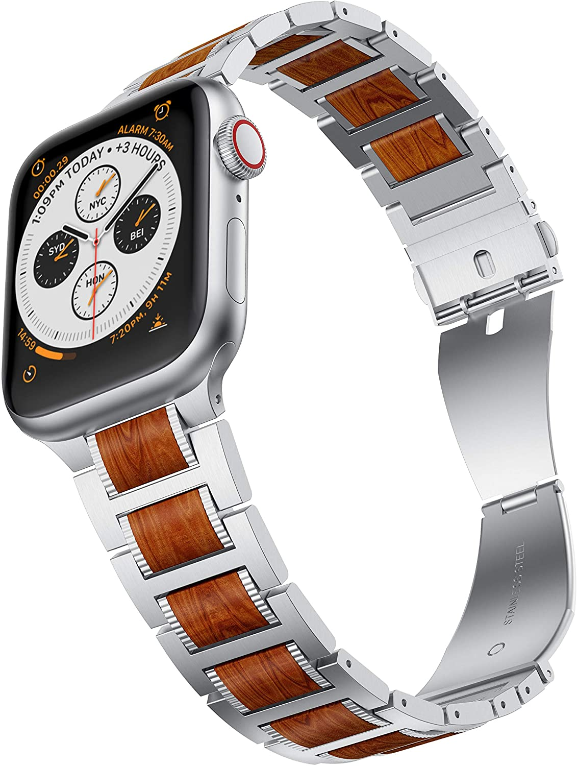 Red Sandalwood Apple Watch Band Silver Buckle Clasp Strapsz Stainless Steel Metal Band for Apple Watch