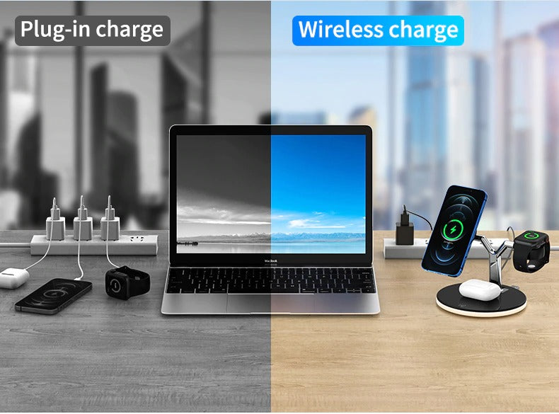 Wireless Charging Dock declutters cables for iPhone Apple Watch and AirPods