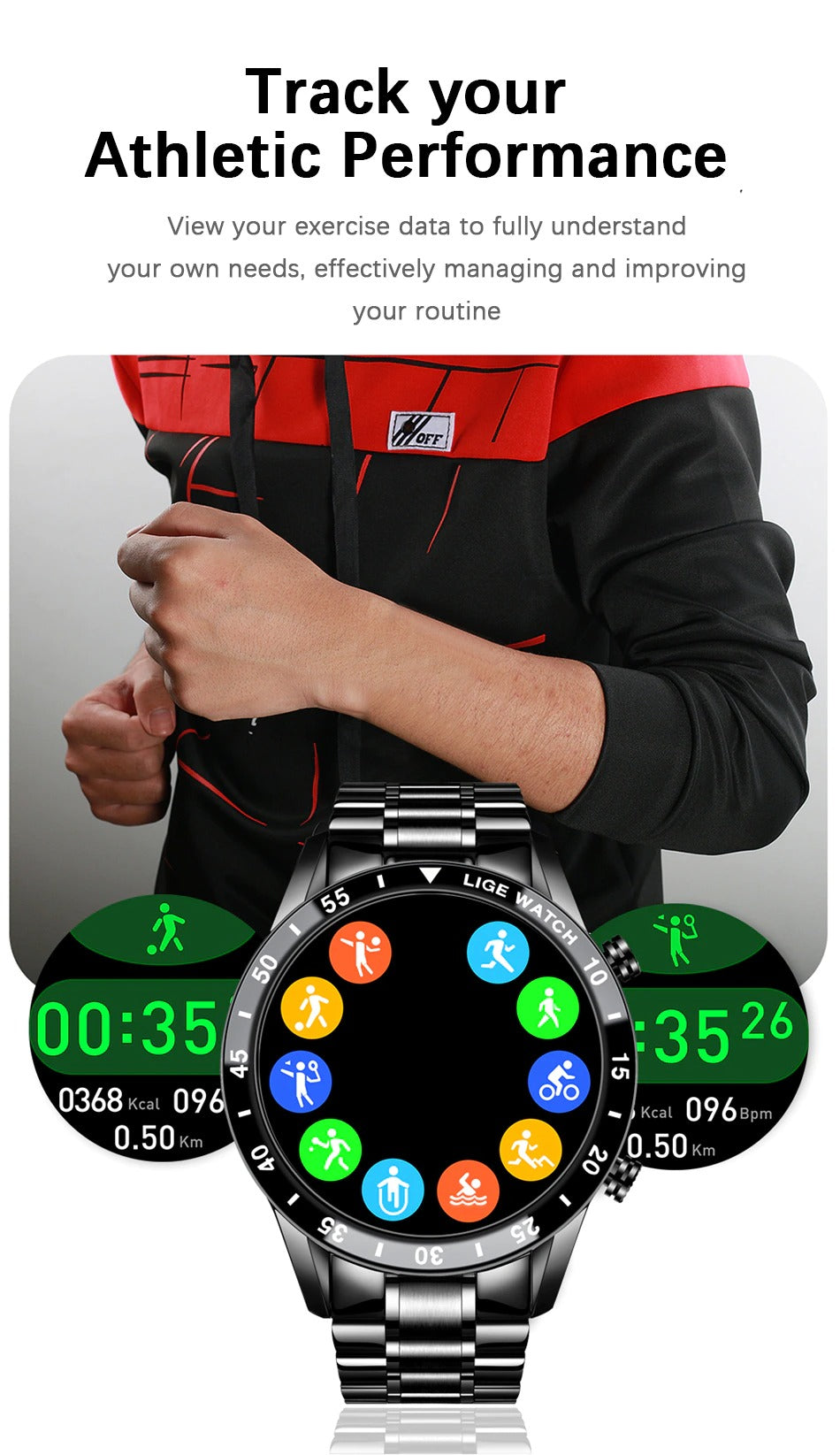 track your athletic performance LIGA Smart Watch