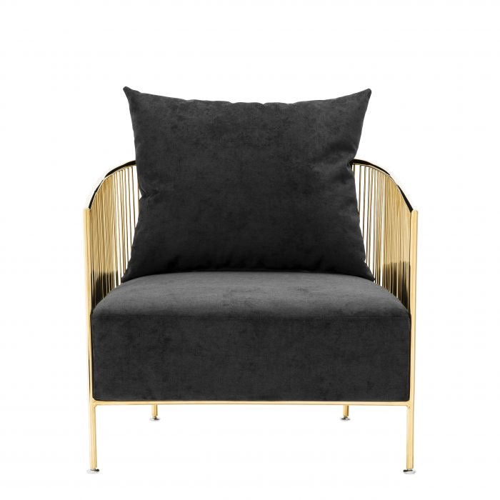 Black Fabric Upholstered Accent Chair