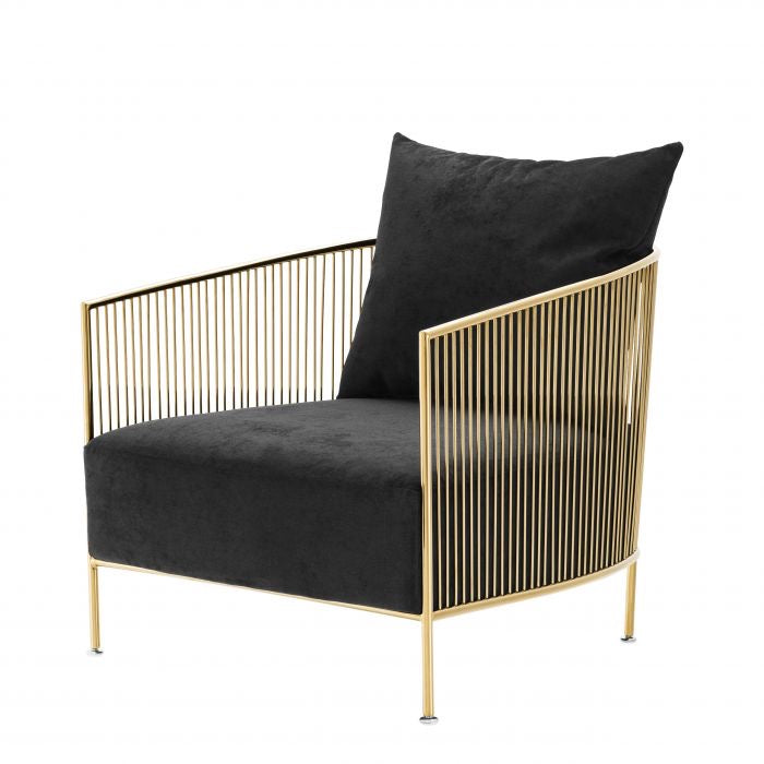 Black Fabric Upholstered Gold Frame Accent Chair