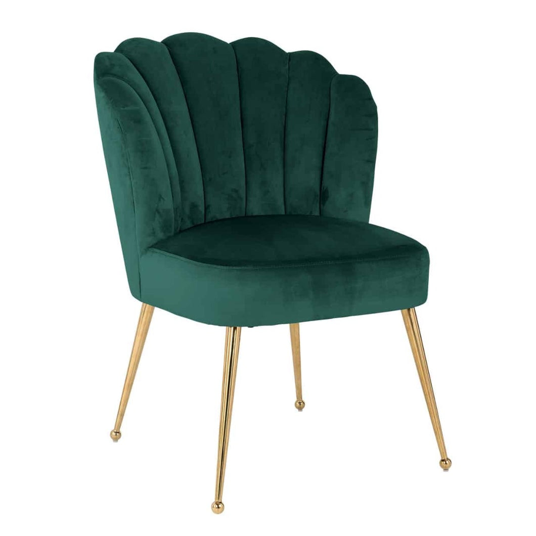 Forest Green Fabric Upholstered Ribbed Accent Chair