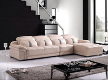 Load image into Gallery viewer, Cream 5-Seater L-shaped Leather Upholstered Sectional Sofa