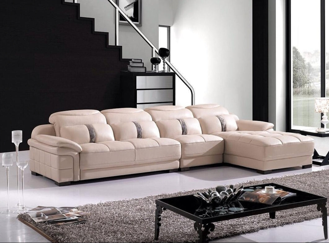 Cream 5-Seater L-shaped Leather Upholstered Sectional Sofa