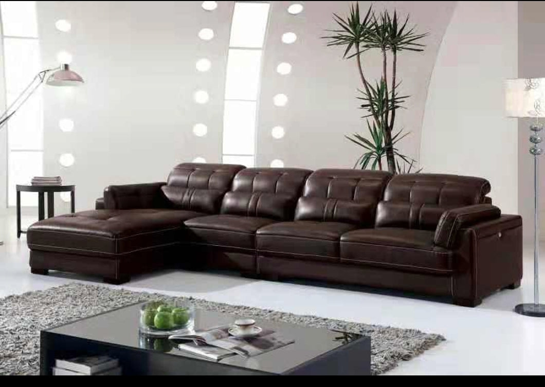 Brown 5-Seater L-shaped Leather Upholstered Sectional Sofa