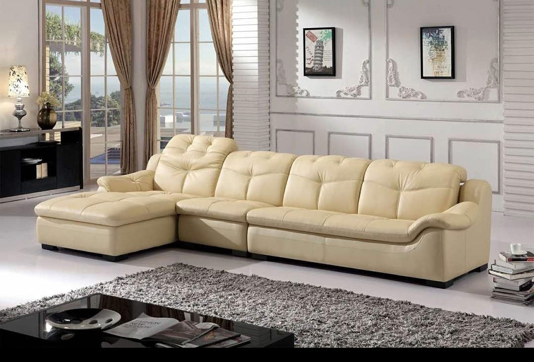 Cream 5-Seater Leather Upholstered Sectional Sofa