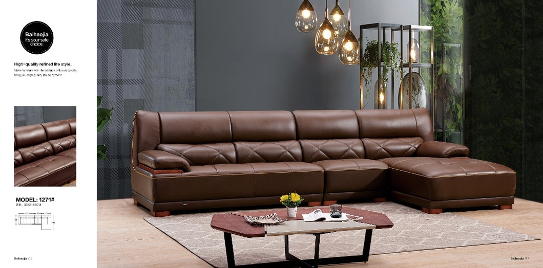 Brown 5-Seater Leather Upholstered Sectional Sofa