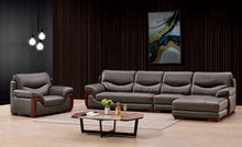 Load image into Gallery viewer, Grey 5-Seater Leather Sectional Sofa