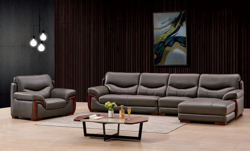 Grey 5-Seater Leather Sectional Sofa