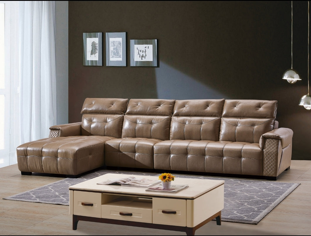 Light Brown 5-Seater L-shaped Leather Upholstered Sectional Sofa