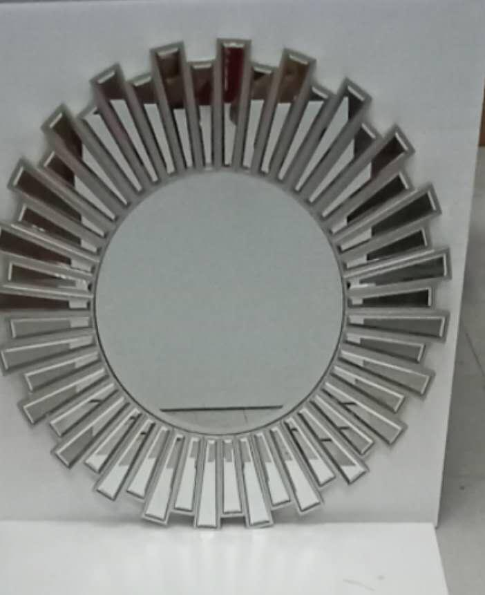 Silver Round Pattern Decorative Mirror