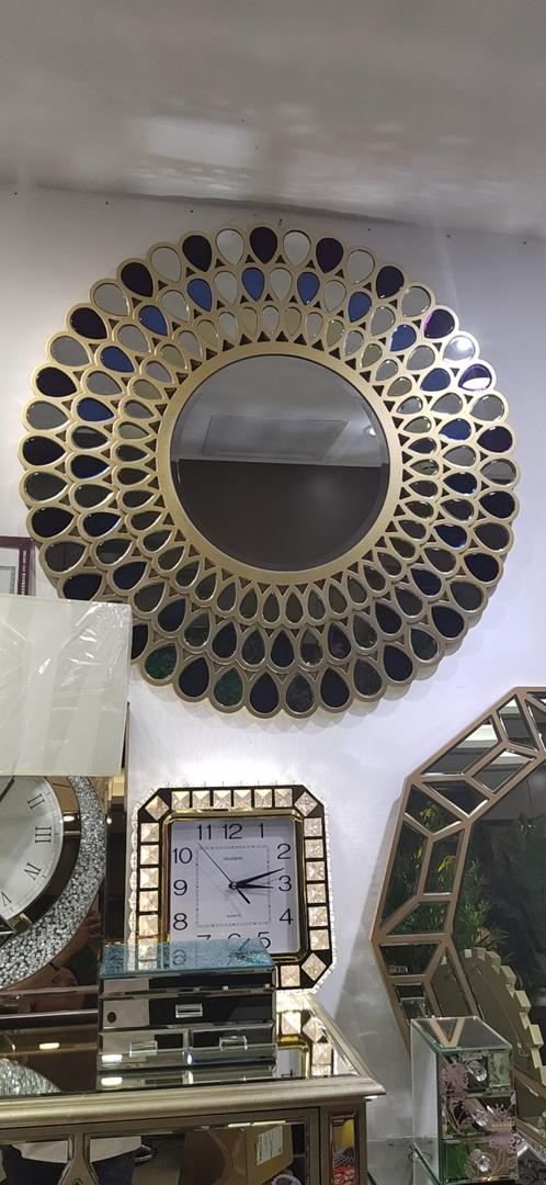 Gold Round Multicolour Teardrop Decorative Mirror