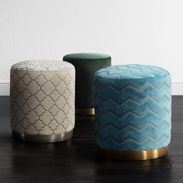 Cylindrical Pattern Fabric Upholstered Ottoman