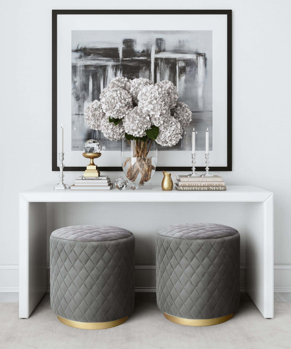 Grey Cylindrical Fabric Upholstered Ottoman