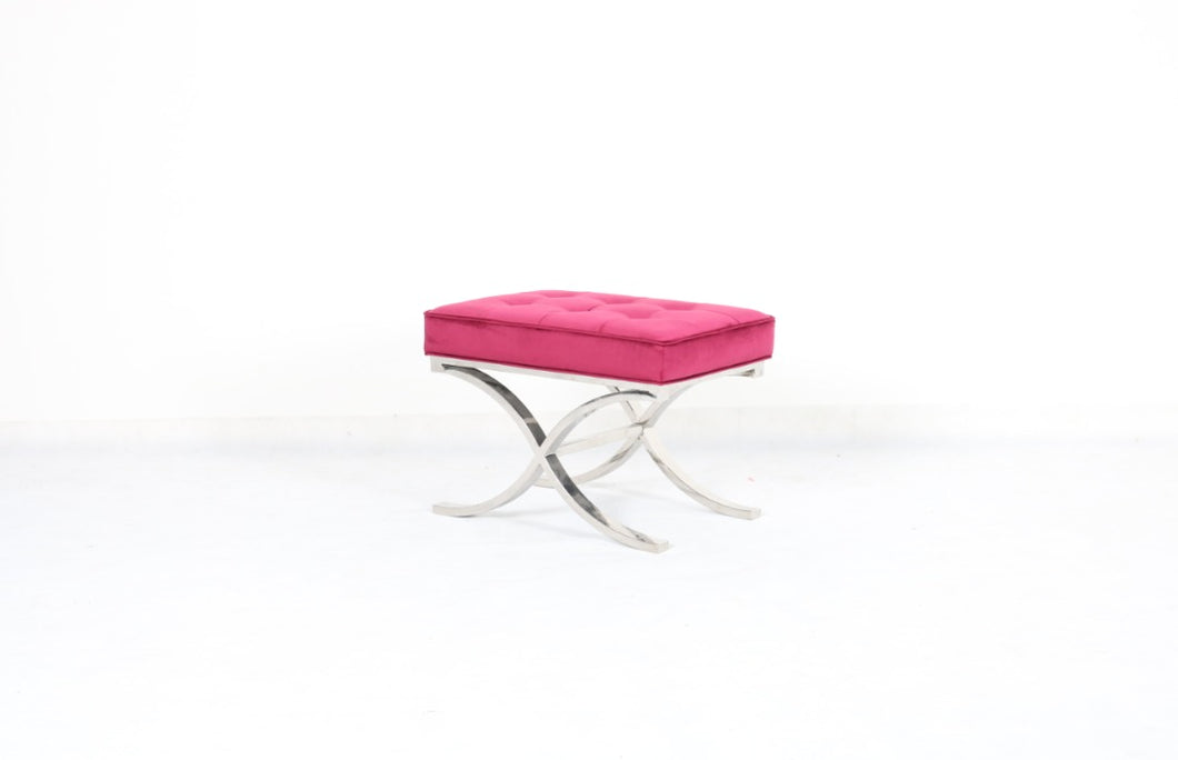 Pink Rectangle Fabric Upholstered Ottoman
