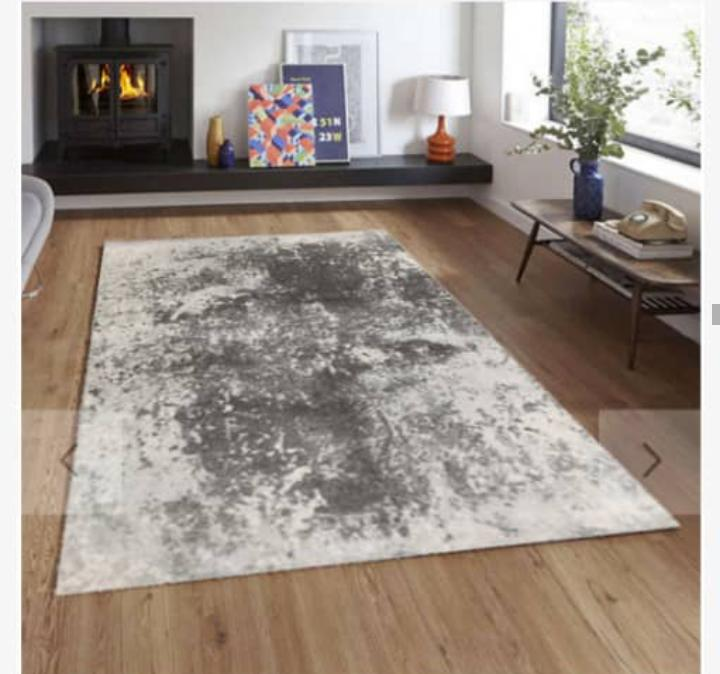 Viscose Blend Grey/White Area Rug