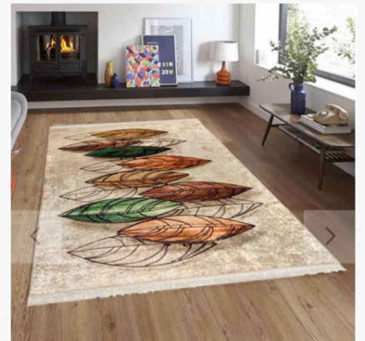Viscose Blend Brown/Green Leaf Area Rug