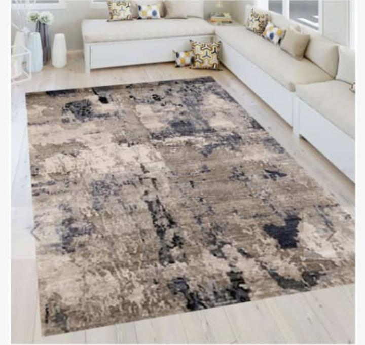 Viscose Blend Beige/Black Area Rug