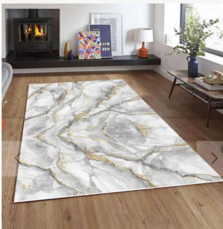Viscose Blend White/Grey/Gold Marble Pattern Area Rug