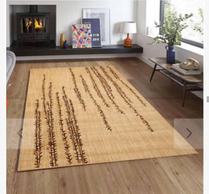 Viscose Blend Light Brown/Dark Brown Sea Weed Pattern Area Rug