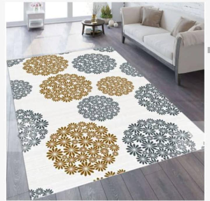 Viscose Blend White/Grey/Gold Circle Flower Pattern Area Rug