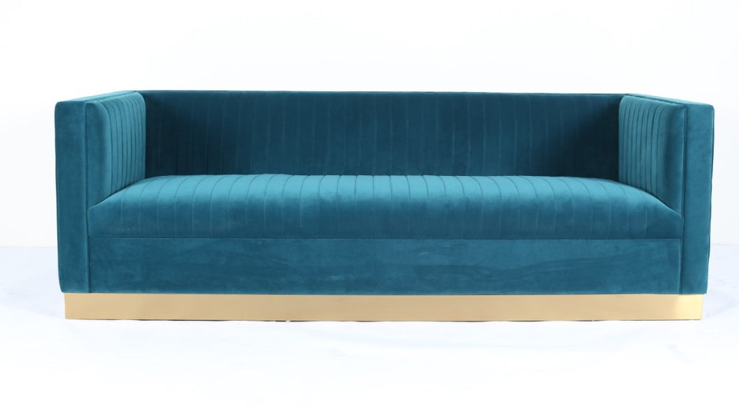Aqua Blue Fabric Upholstered Sofa