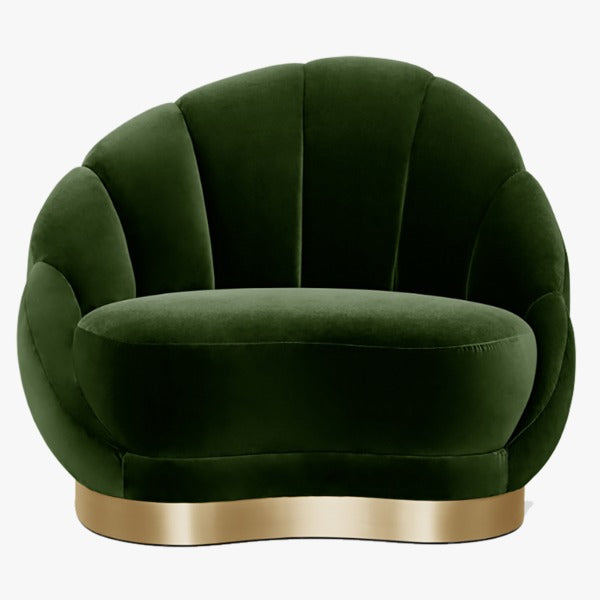 Green Single Seater Fabric Upholstered Sofa