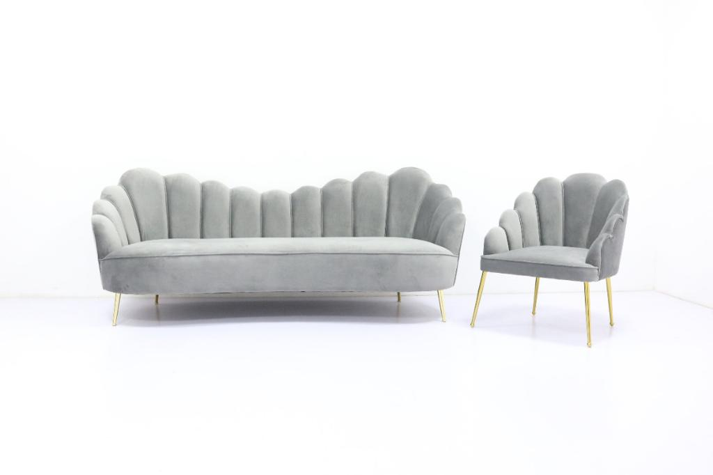 Grey 3-Seater Fabric Upholstered Sofa