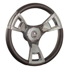 Gussi Italia Steering Wheel - Model 13 Black Brushed Three Spoke Aluminium