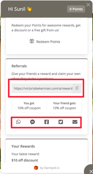 Detail of Reward panel showing Referrals section.