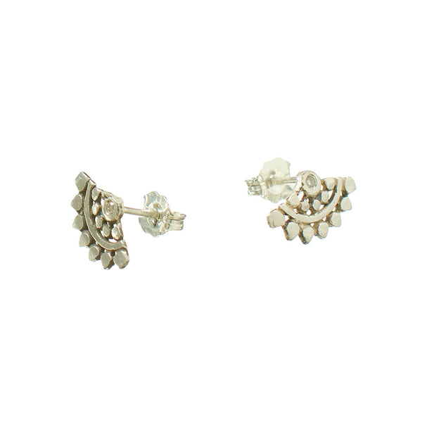 Pair of fan-shaped silver earrings with lace pattern, inset with small diamond, shown facing out.