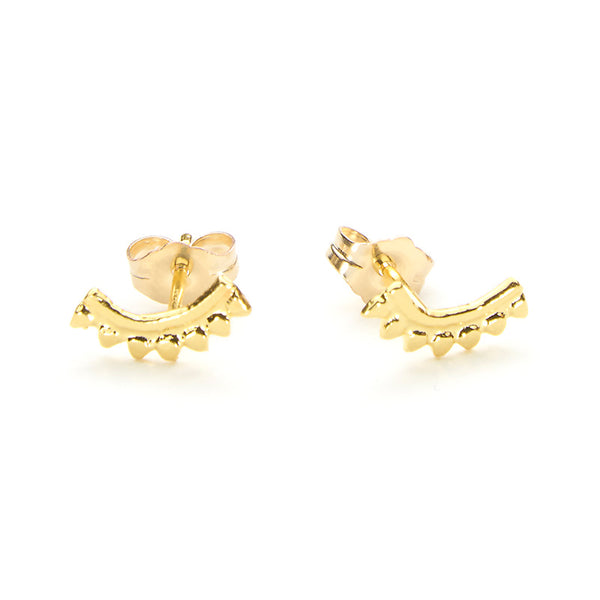 Pair of gold earrings, arc-shaped with little triangular beads, with backings.