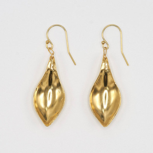 Pair of gold earrings, with curved simple leaf design.