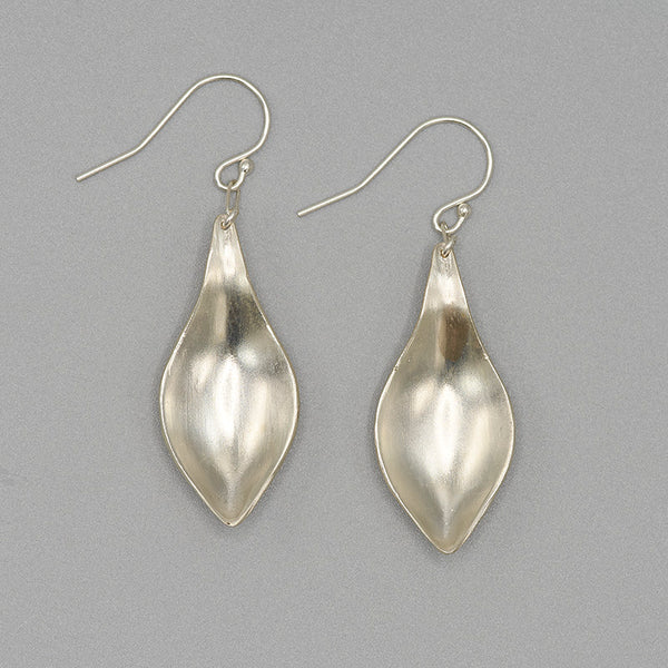 Pair of silver earrings, with curved simple leaf design.