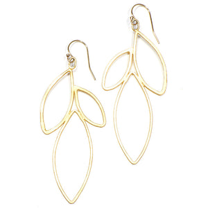 Pair of gold earrings shaped like outline of group of leaves.