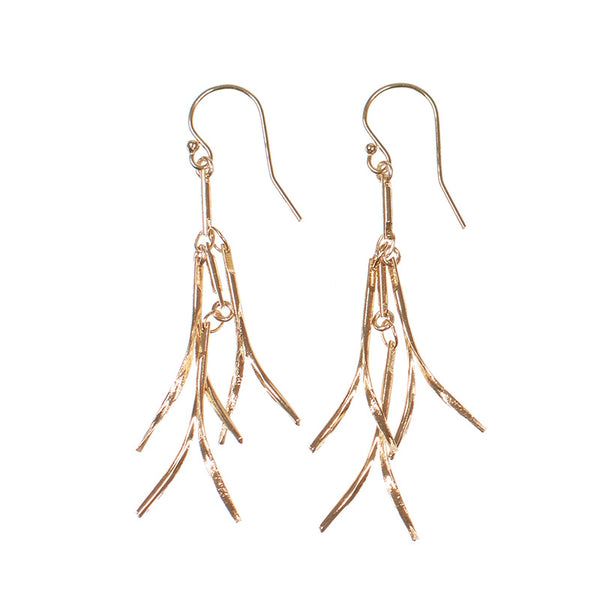 Pair of gold earrings, with curved hanging frill design.