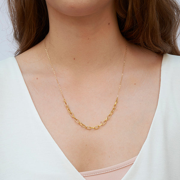 Woman wearing gold necklace with delicate upper chain and thicker gold links at bottom.