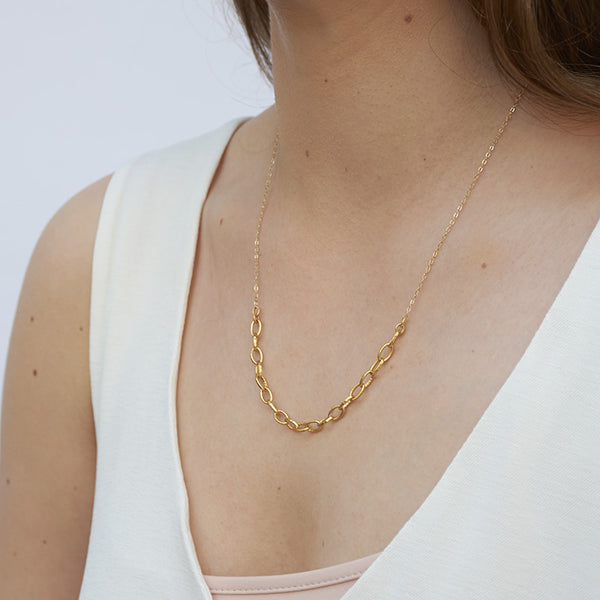 Woman wearing gold necklace with delicate upper chain and thicker gold links at bottom, shown from side angle.
