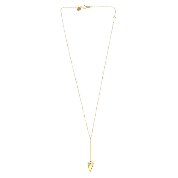 Gold necklace, short arrow pendant, chain with black bead accents, full length showing clasp.