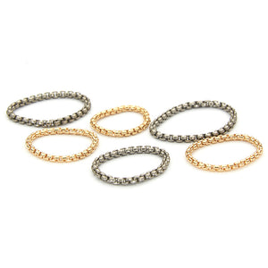 Assorted gold and titanium chain ring