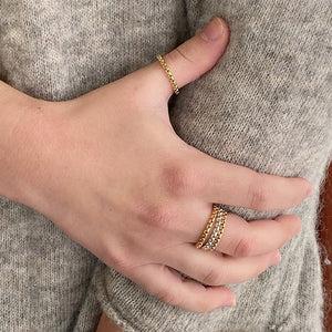 Close-up of hand wearing assorted thick silver and gold chain rings.