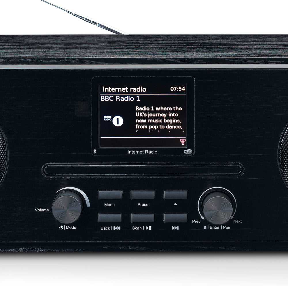 Lenco DIR-260BK - Internet / DAB + FM Radio with CD-player and Bluetooth - Black