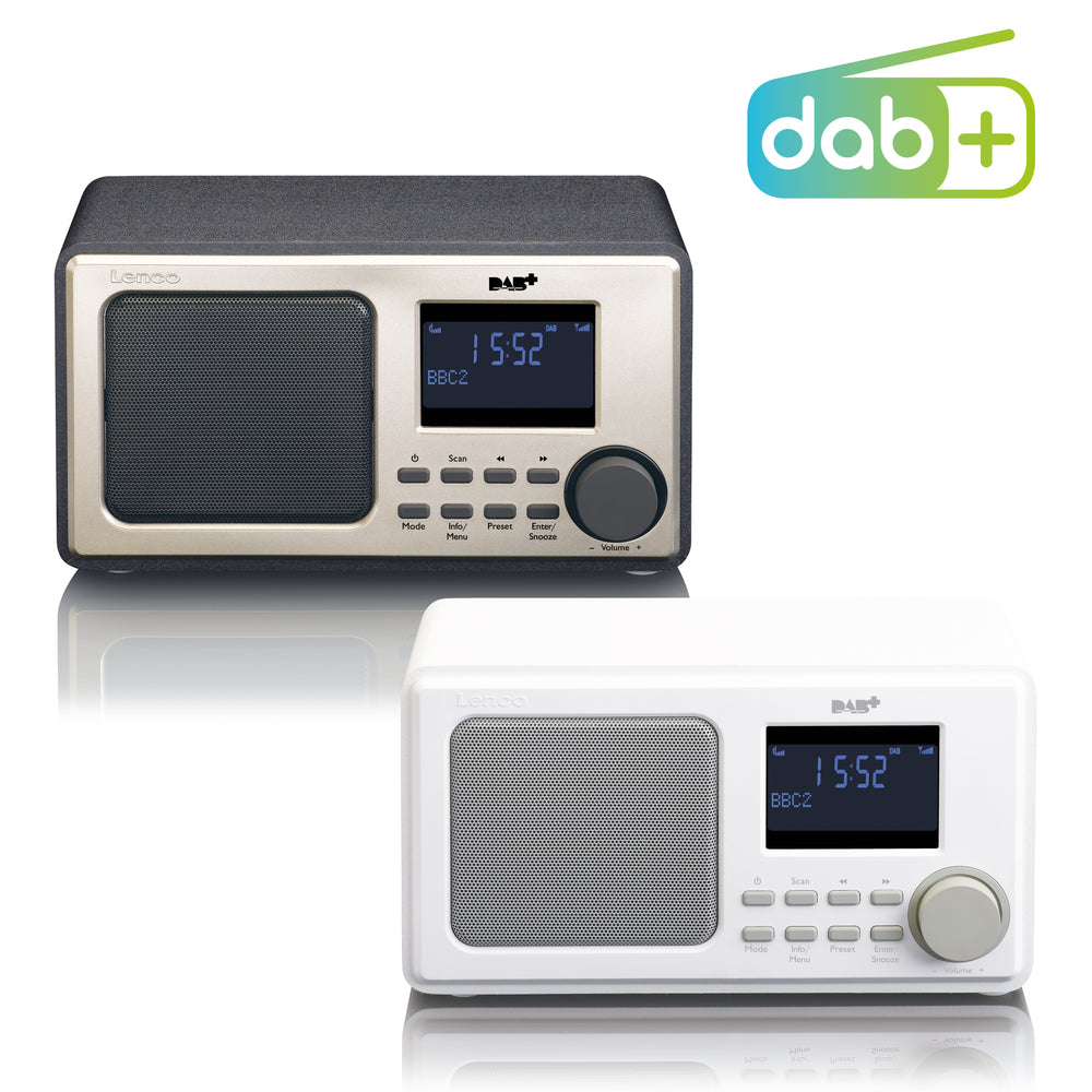 Lenco DAR-010WH - DAB+ FM Radio with AUX-input and Alarm Function - White
